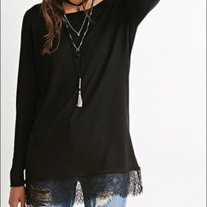 Sweaters - BLACK LACE-TRIMMED SWEATER